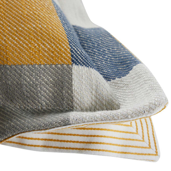 Plaid Mustard 14 x 24 Inch Pillow with Pinstripe Cord, image 3