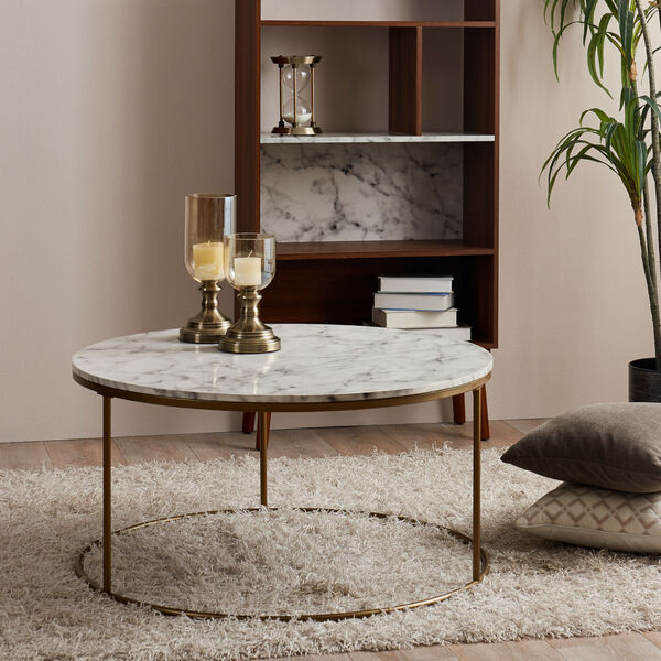 Marmo Faux Marble and Brass Round Coffee Table with Faux Marble, image 4