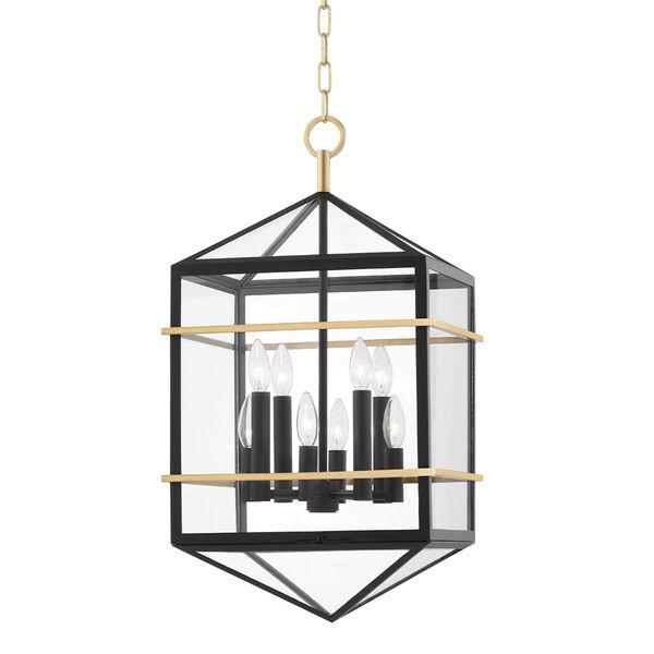 Bedford Hills Aged Brass Black Eight-Light Pendant, image 1