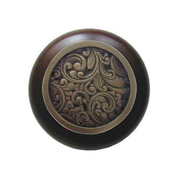 Dark Walnut Saddleworth Knob with Antique Brass, image 1