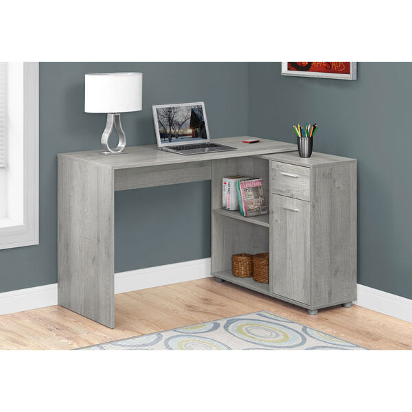 Grey 46-Inch Computer Desk with a Storage Cabinet, image 1