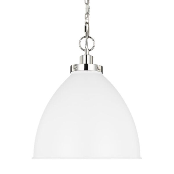 Wellfleet Matte White and Silver 16-Inch One-Light Pendant, image 4