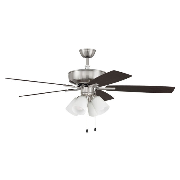 Pro Plus Brushed Polished Nickel 52-Inch Four-Light Ceiling Fan with White Frost Bell Shade, image 1