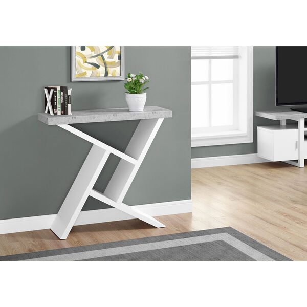 White Cement-Look Hall Console, image 1