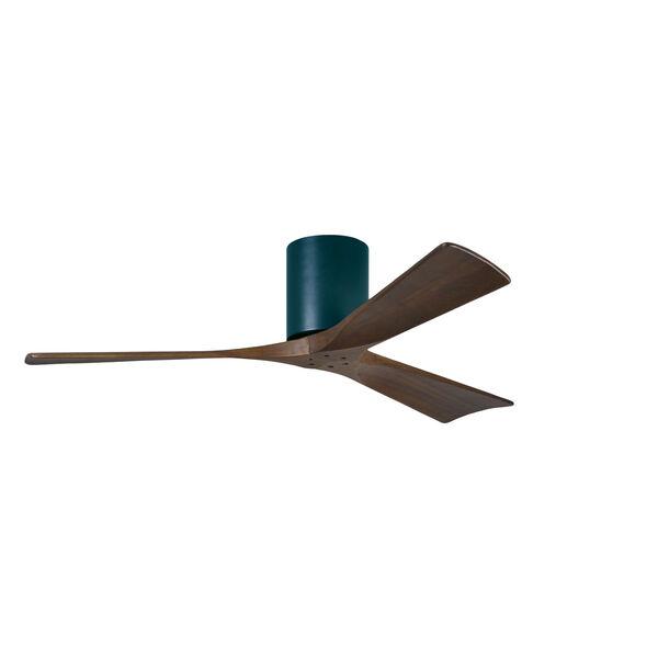 Irene-H 3 Matte Black 52-Inch Hugger-Style Ceiling Fan with Walnut Tone Blades, image 1