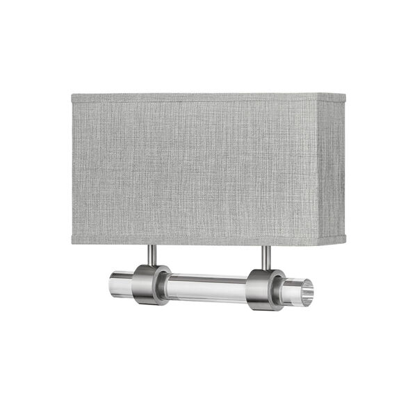 Luster Brushed Nickel Two-Light LED Wall Sconce with Heathered Gray Slub Shade, image 1