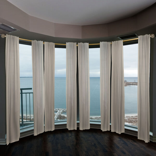 Leanette Antique Brass Four-Sided Bay Window Curtain Rod, image 2