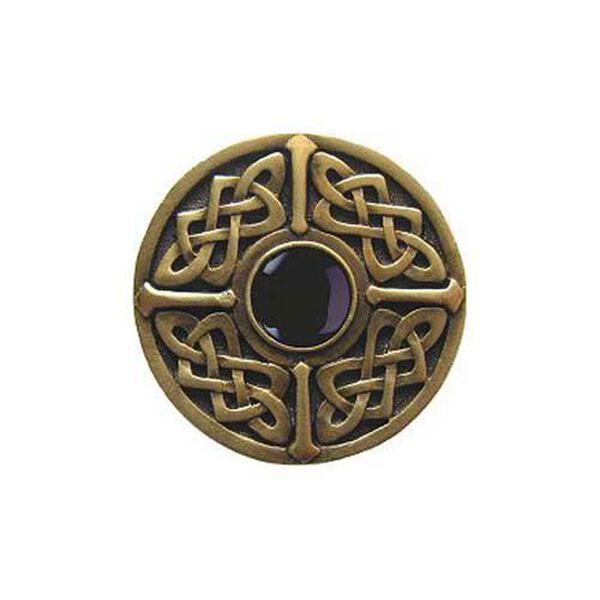 Antique Brass Onyx Celtic Jewel Knob, image 1