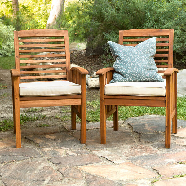 Brown Acacia Patio Chairs with Cushions (Set of 2), image 1