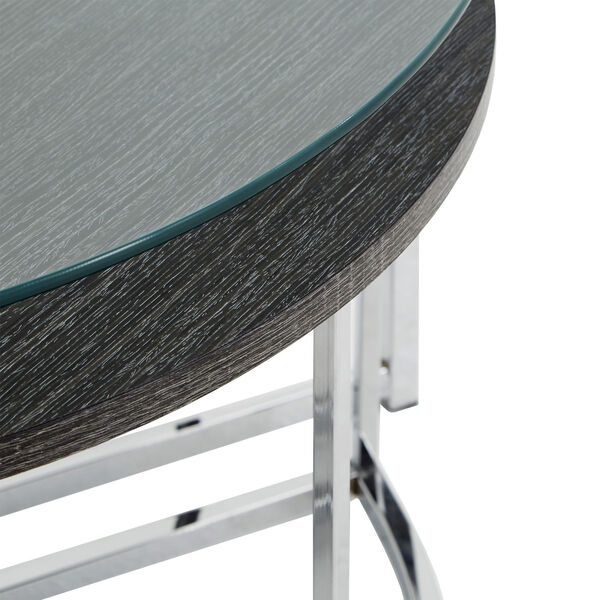 Alexia Chrome Cocktail Table with Glass Top, image 4