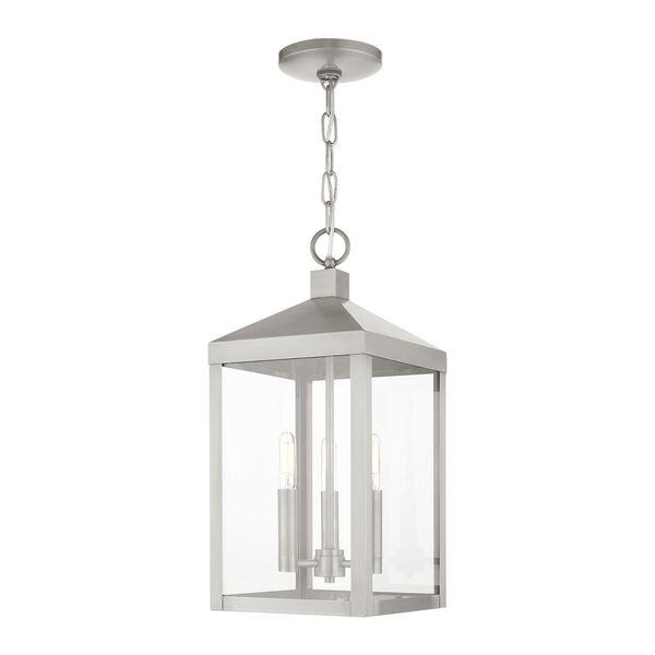 Nyack Brushed Nickel Three-Light Outdoor Pendant Lantern, image 2