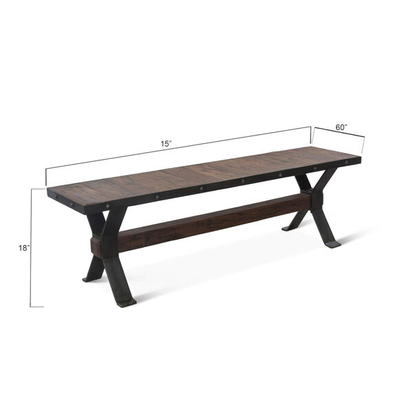 Paxton Weathered Walnut and Gray Zinc Dining Bench, image 4