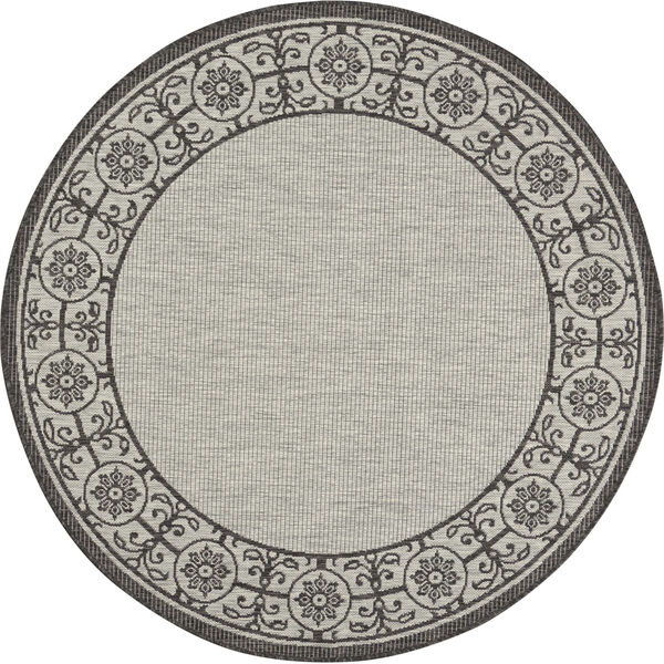 Garden Party Gray and Charcoal 5 Ft. 3 In. x 5 Ft. 3 In. Round Indoor/Outdoor Area Rug, image 2