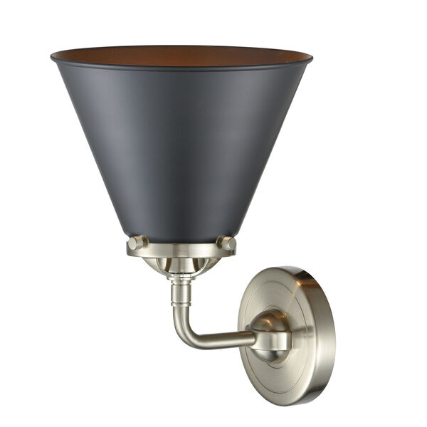 Nouveau Brushed Satin Nickel Eight-Inch LED Wall Sconce with Matte Black Metal Shade, image 2