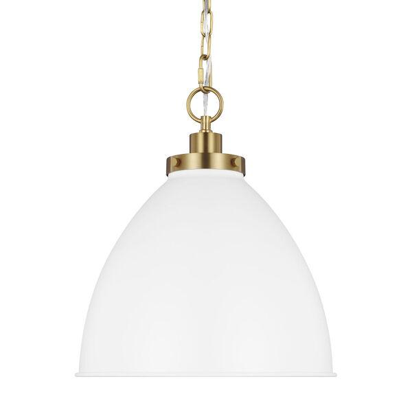 Wellfleet Matte White and Gold 14-Inch One-Light Pendant, image 3