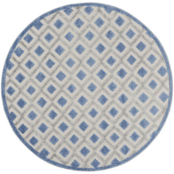 Aloha Blue and Gray 5 Ft. 3 In. x 5 Ft. 3 In. Round Indoor/Outdoor Area Rug, image 2