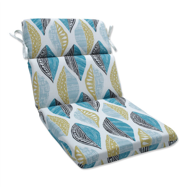 Leaf Block Teal and Citron Round Corner Chair Cushion, image 1