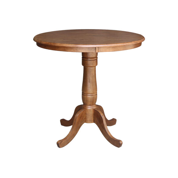 Distressed Oak 36-Inch Round Pedestal Gathering Height Table with Two X-Back Counter Height Stool, Set of Three, image 2