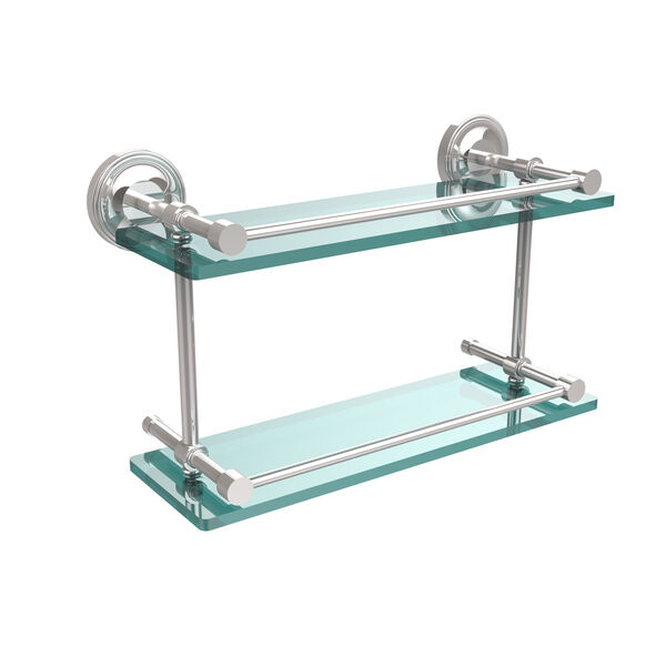 Prestige Regal 16 Inch Double Glass Shelf with Gallery Rail, Polished Chrome, image 1