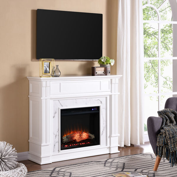 Highgate White Faux Cararra Marble Electric Media Fireplace, image 4