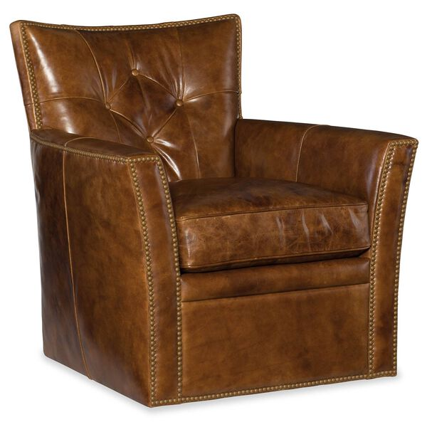 Conner Brown Leather Swivel Club Chair, image 1