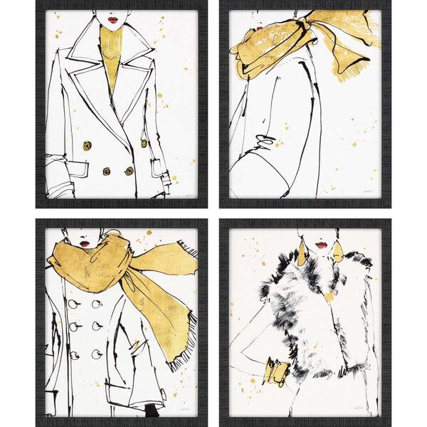 Fashion Strokes Yellow Framed Art, Set of Four, image 2
