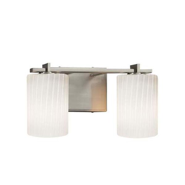 Fusion - Era Brushed Nickel Two-Light Bath Bar with Cylinder Flat Rim Ribbon Shade, image 1