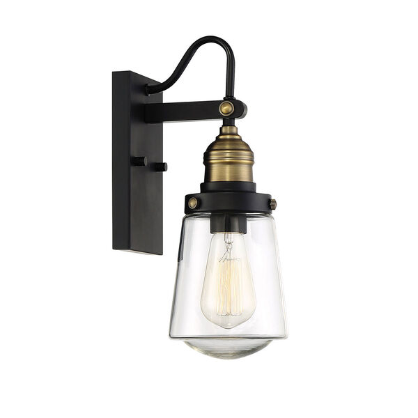 Afton Vintage Black with Warm Brass One-Light Outdoor Wall Sconce, image 4
