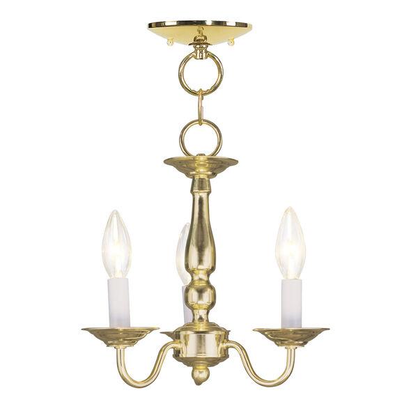 Williamsburgh Polished Brass Three-Light Convertible Semi Flush Mount, image 1