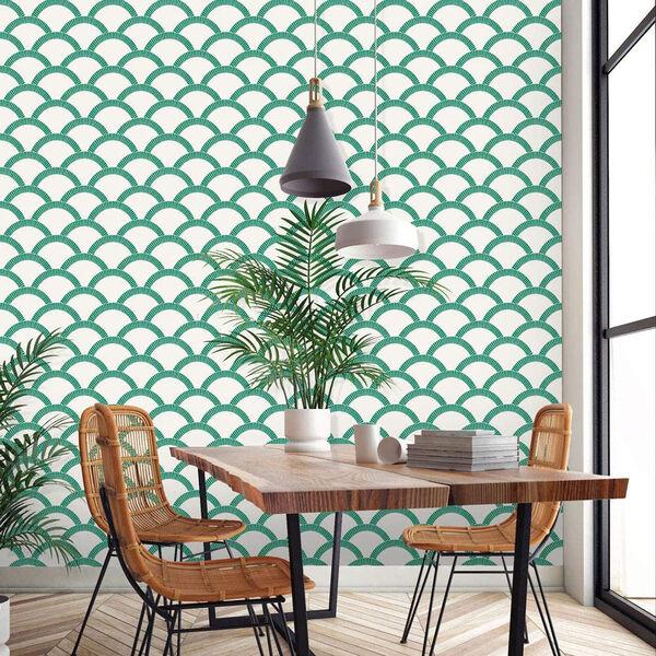 Mosaic Scallop Emerald 28 Sq. Ft. Peel and Stick Wallpaper, image 5