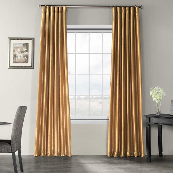 Flax Gold Vintage Textured Faux Dupioni Silk Single Panel Curtain, 50 X 84, image 1