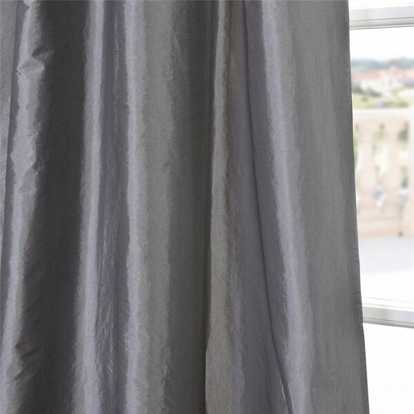 Ruched Platinum 108 x 50-Inch Faux Silk Taffeta Curtain Single Panel, image 3