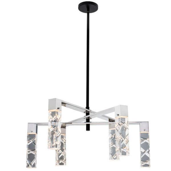 Serres Matte Black Polished Nickel Four-Light LED Chandelier with Firenze Crystal, image 4