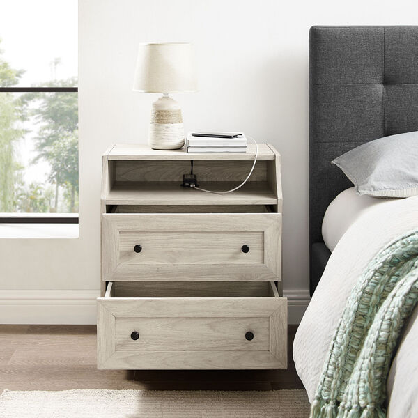 Birch Curved Open Top Two Drawer Nightstand with USB, image 2