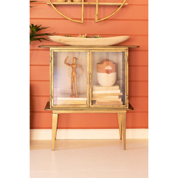 Antique Brass Glass Two Door Cabinet, image 1