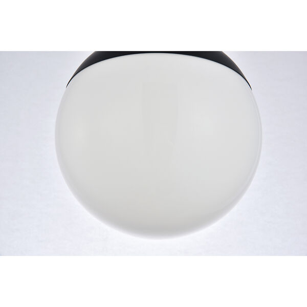 Eclipse Black and Frosted White Eight-Inch One-Light Semi-Flush Mount, image 5