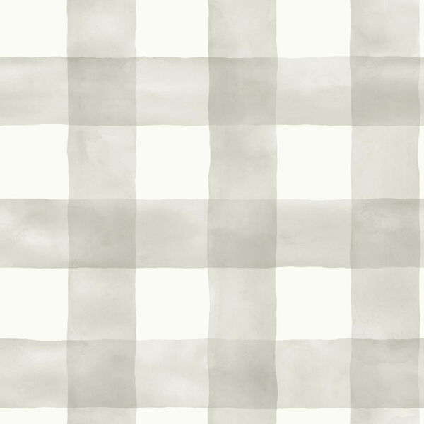 Watercolor Check Gray and White Removable Wallpaper, image 2