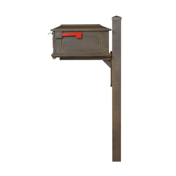 Kingston Curbside Copper Mailbox and Wellington Direct Burial Mailbox Post Smooth Square, image 4