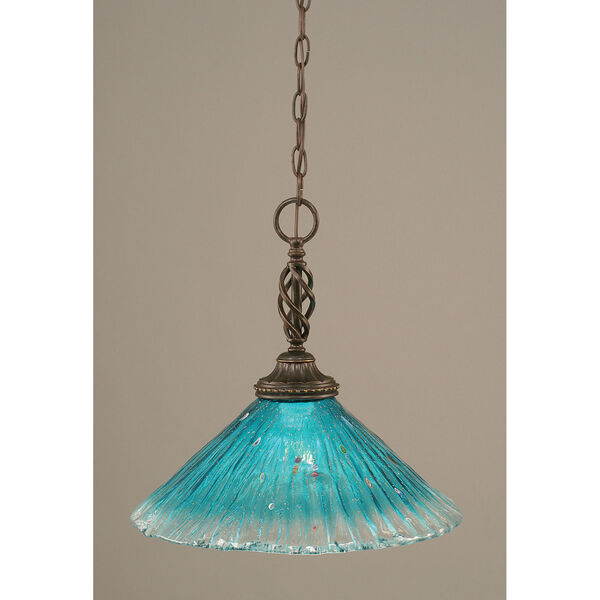 Elegante Dark Granite One-Light Pendant with Teal Crystal Glass Shade, image 1