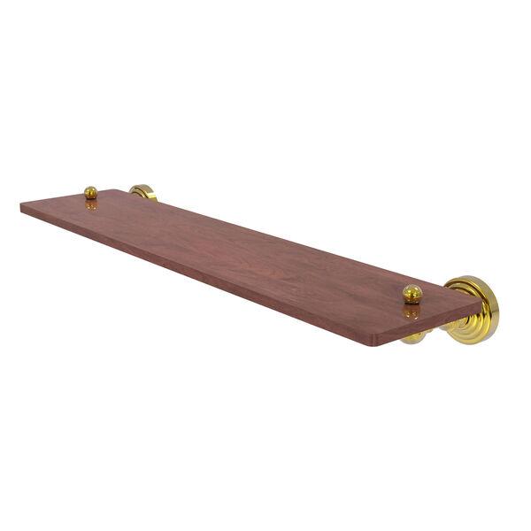 Waverly Place Polished Brass 22-Inch Solid IPE Ironwood Shelf, image 1