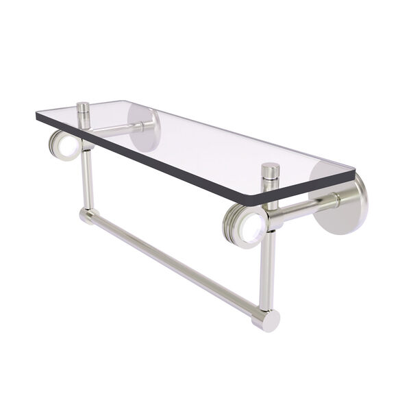 Clearview Satin Nickel 16-Inch Glass Shelf with Towel Bar and Dotted Accents, image 1