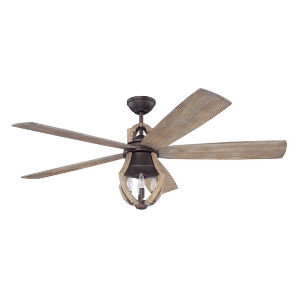 Winton Aged Bronze Brushed 56-Inch Three-Light Ceiling Fan with Five Blades, image 1