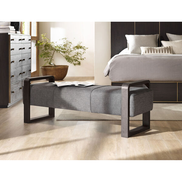 Curata Gray Upholstered Bench, image 2