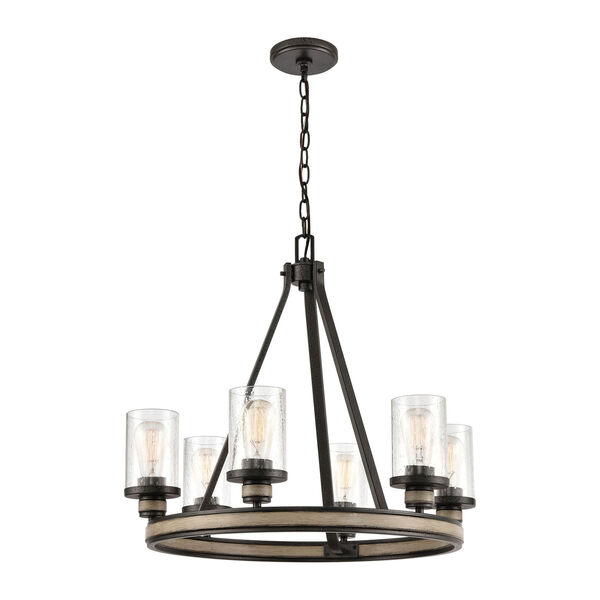 Beaufort Anvil Iron and Distressed Antique Graywood Six-Light Chandelier, image 1