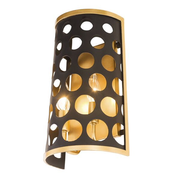 Bailey Matte Black French Gold Two-Light Wall Sconce, image 2