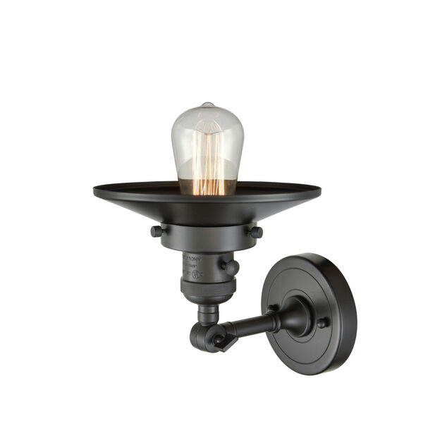 Franklin Restoration Oil Rubbed Bronze Eight-Inch One-Light Wall Sconce with Railroad Oil Rubbed Bronze Metal Shade, image 2
