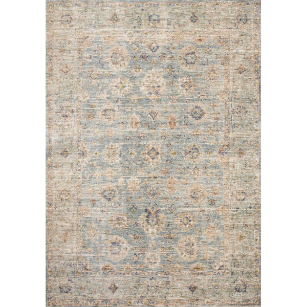 Revere Light Blue with Multicolor Rectangle: 2 Ft. x 3 Ft. 2 In. Rug, image 1