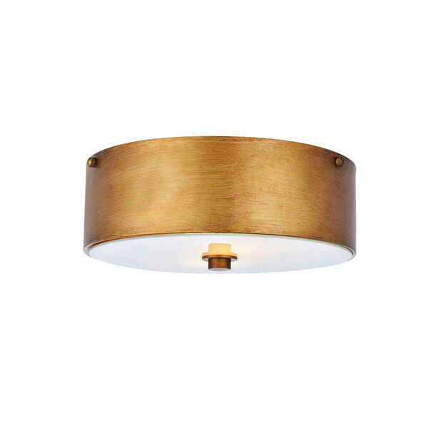 Hazen Vintage Gold and Frosted White Two-Light Flush Mount, image 3