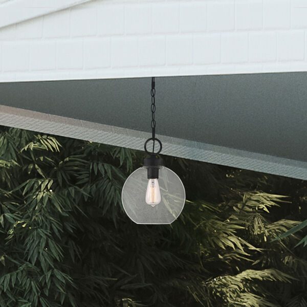 Barre Grey Ash 10-Inch One-Light Outdoor Hanging Lantern with Clear Seedy Glass, image 7