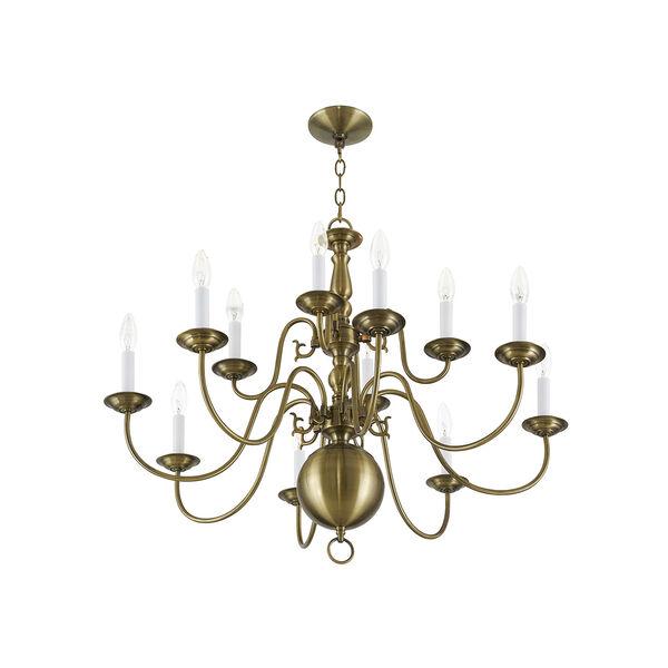 Williamsburgh Antique Brass 12 Light Chandelier, image 6